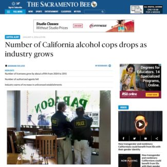 In The News – Number of California alcohol cops drops as industry grows