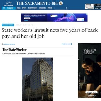 In The News – State worker's lawsuit nets five years of back pay, and her old job