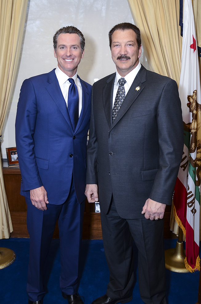 CSLEA President Alan Barcelona with newly re-elected Lt. Governor Gavin Newsom at his inaugural reception at the California State Capitol on Monday, January 5, 2015.