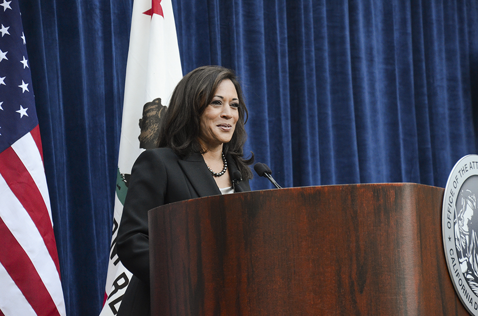 Newly re-elected Attorney General Kamala D. Harris speaking to attendees at her inaugural ceremony at the Crocker Art Museum in Sacramento, CA on Monday, January 5, 2015.