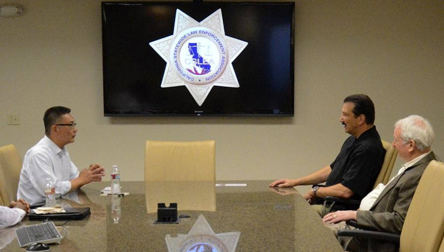CSLEA President Alan Barcelona and CSLEA Legislative Consultant Craig Brown interview candidate Kansen Chu, who is running for California State Assembly District 25, at CSLEA headquarters in Sacramento, CA on Monday, October 6, 2014.