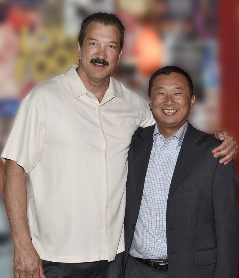 CSLEA President Alan Barcelona (L) with Dan Kim (L) at Marilyn's in downtown Sacramento during a farewell event for Dan Kim on Tuesday, August 5, 2014.