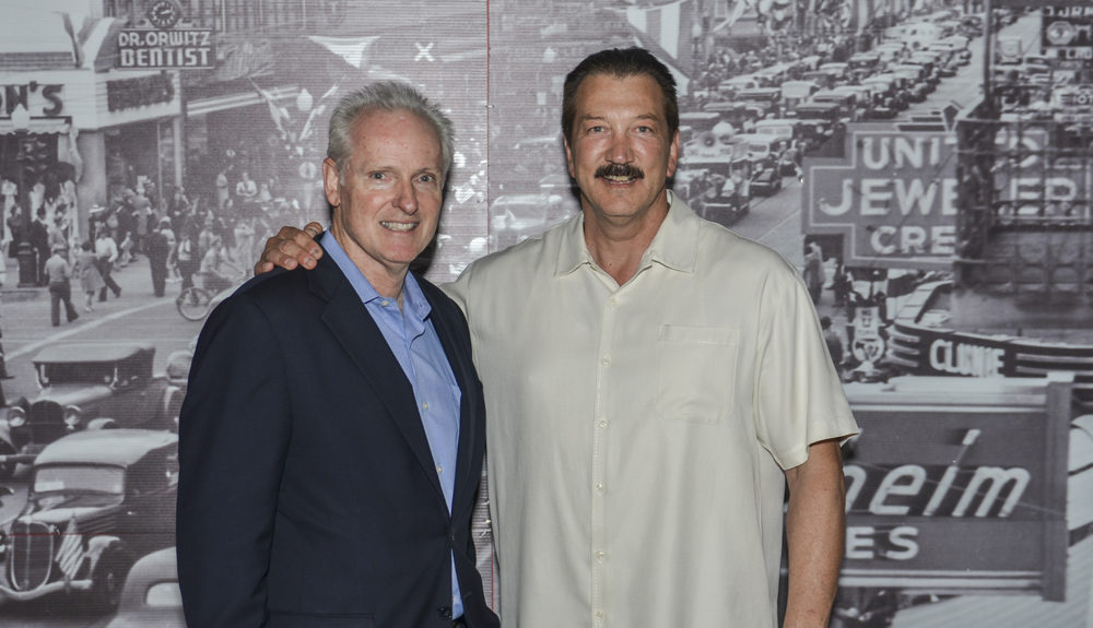 CSLEA President Alan Barcelona (R) with Assemblyman Tom Daly (L) at Marilyn's in downtown Sacramento during a farewell event for Dan Kim on Tuesday, August 5, 2014.
