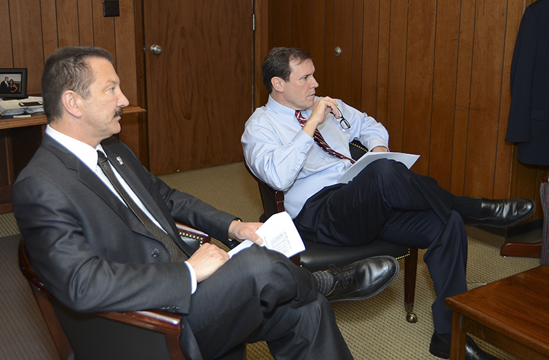 CSLEA President Alan Barcelona and CABCA President Kevin Highbaugh meet with Assemblyman Scott Wilk on Tuesday, March 24, 2015, at the California State Capitol.