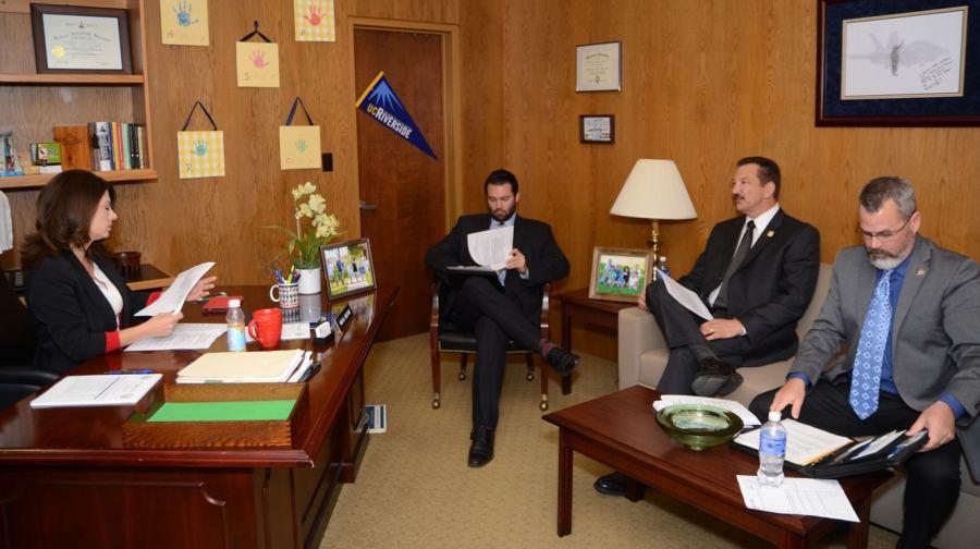 Assemblymember Melissa Melendez with CSLEA President Alan Barcelona and CABCA President Kevin Highbaugh