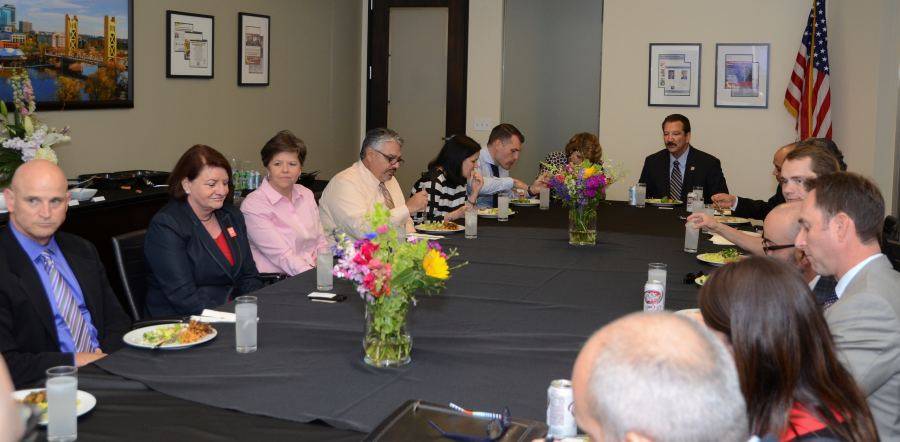 CSLEA President Alan Barcelona at a luncheon with Assembly Speaker Toni Atkins at Capitol Advocacy on Wednesday, April 29, 2015.