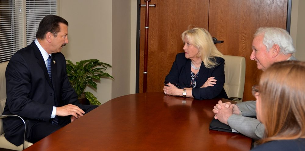 CSLEA President Alan Barcelona (left) and CSLEA lobbyist Craig Brown (right) meet with Assembly Republican Leader Connie Conway to discuss issues vital to DOJ Special Agents.