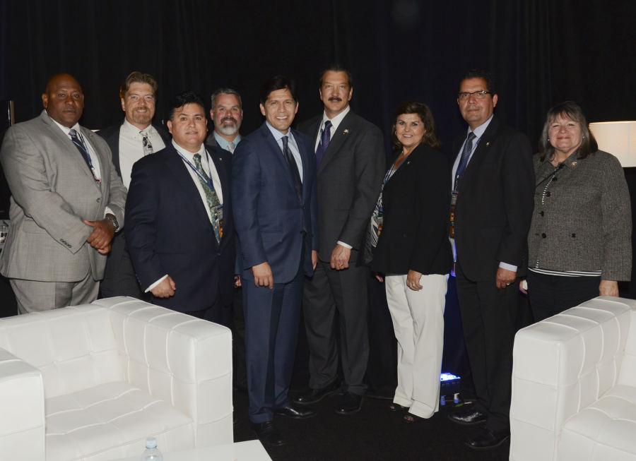 From left to right: Al Cardwood, Tom Ineichen, Ricardo Sanchez, Kevin Highbaugh, Senate President pro Tem Kevin De Leon, Alan Barcelona, Tina Brazil, Frank Capetillo, Francine Toth