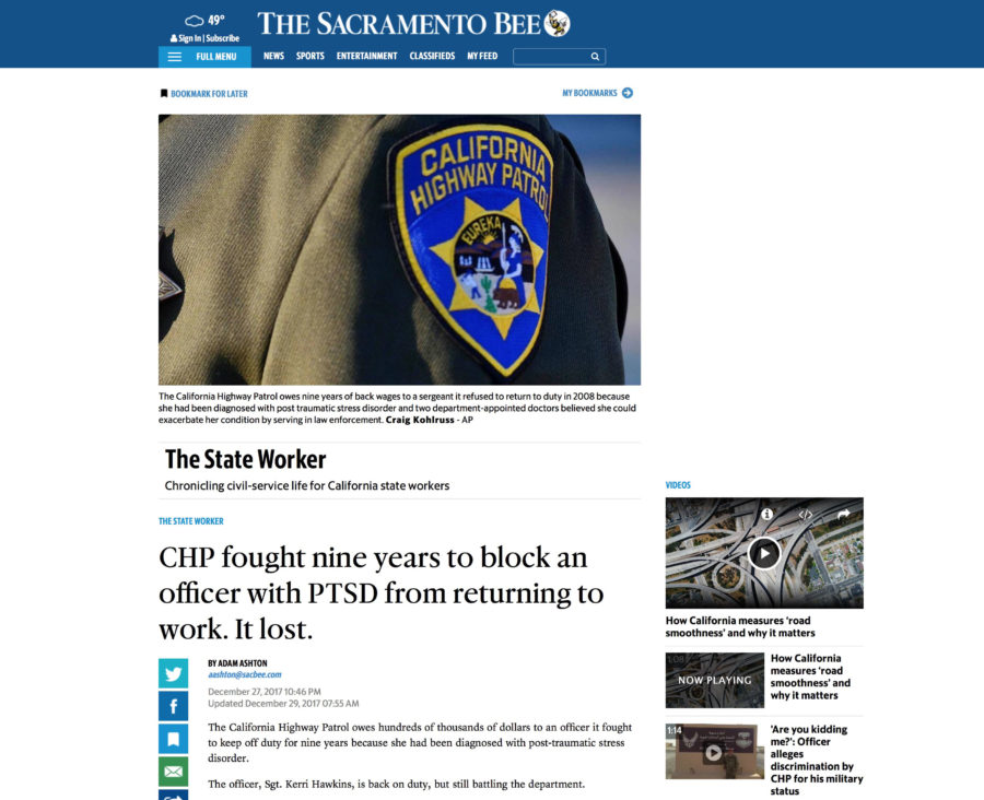 In The News - CHP fought nine years to block an officer with