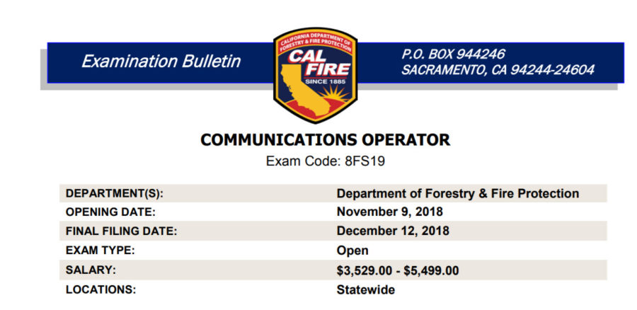 cal fire communications exam bulletin posted california statewide