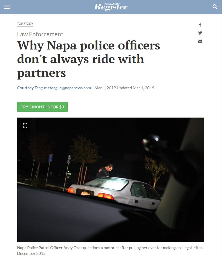 In The News - Why Napa police officers don't always ride with partners