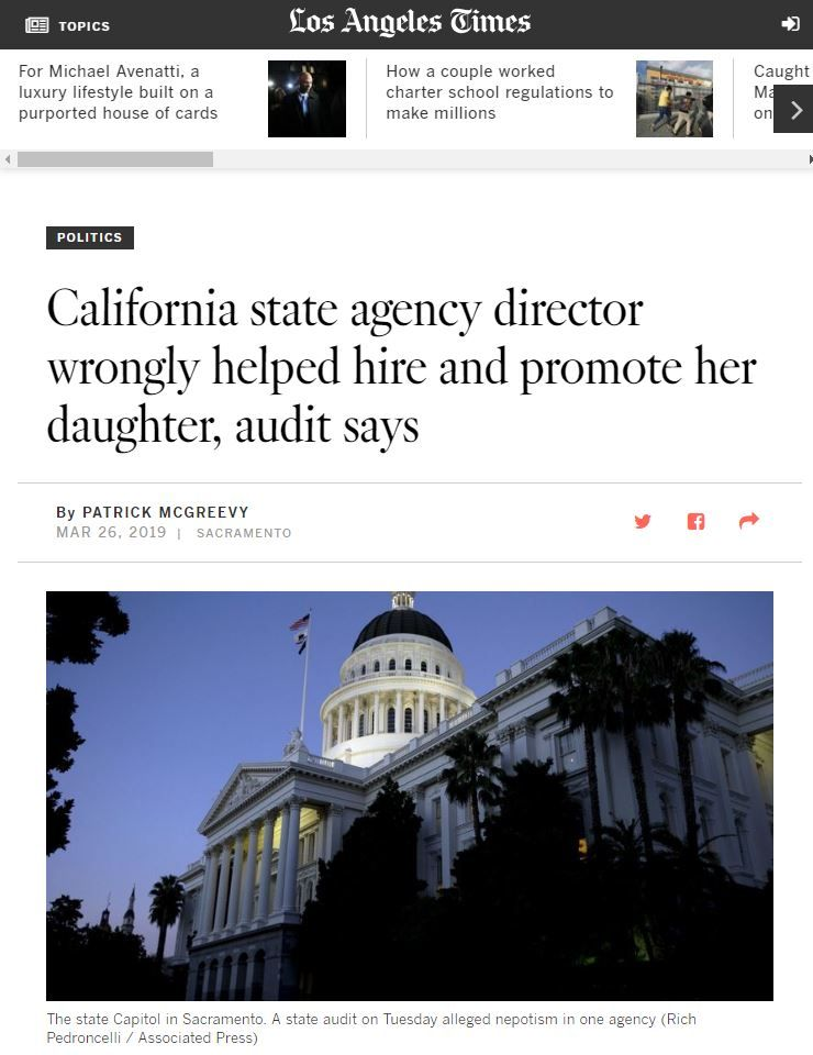 In The News - California state agency director wrongly helped hire and promote her daughter, audit says