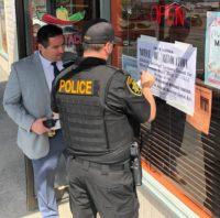 ABC Agent Post Notice of Revocation at Rico's Tacos Taqueria in Arcata