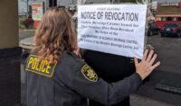 ABC Agents Post Revocation Notice at Nena's Cantina in Artesia