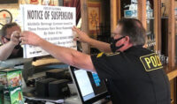 ABC Agents Post Suspension Notice at 1849 Brewing Company in Grass Valley