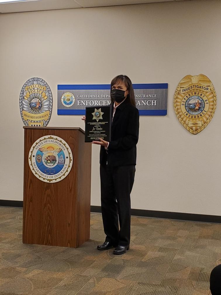 CACI Presents CDI Det. Jo Barbo with Retirement Plaque